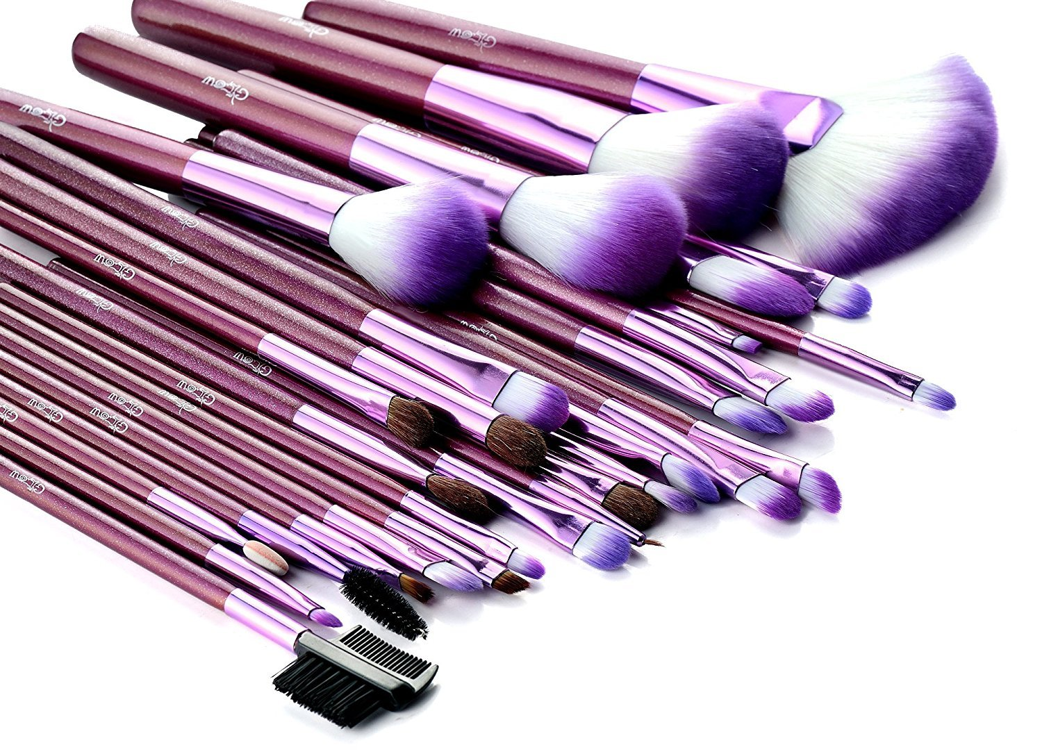 b4bef5ce3df8 Glow 30 Pc Professional Wooden Handle Makeup Brushes Set in Purple ...