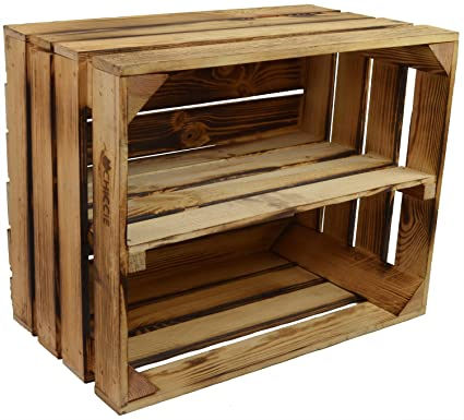 Cajas de madera vintage con estante de Chiccie, flameada, caja de fruta, de