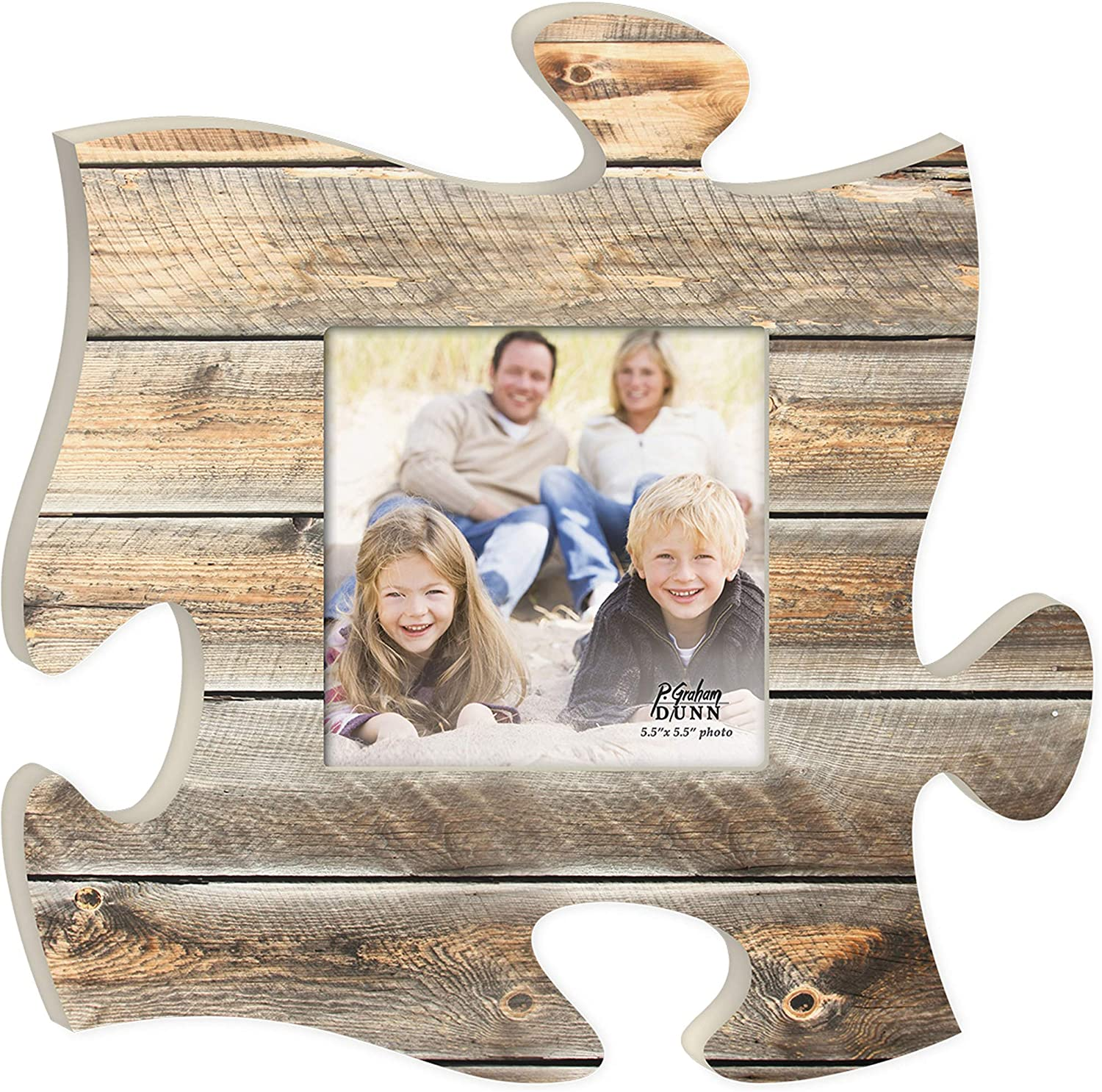 P. Graham Dunn Distressed Light Wood Look 12 x 12 Inch Wood Puzzle Piece Wall Sign Frame Plaque