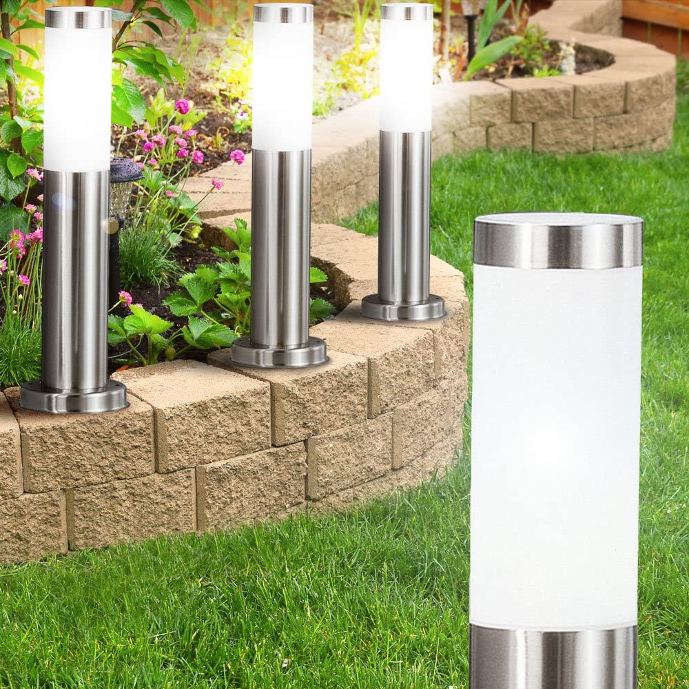 LED Steh Leuchte Garten Bewegungsmelder Edelstahl Außen Veranda Steckdosen Lampe