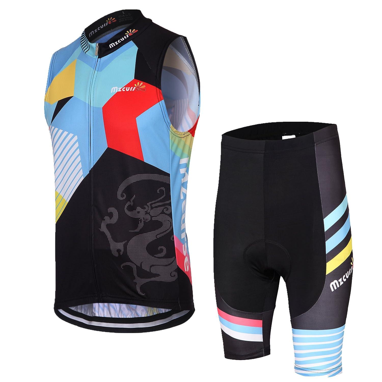 Mzcurseレディースサイクリング風ベストWindvestノースリーブ+ 3dパッド入りパンツショーツセット B015ZGJLG2 M|カラー カラー M