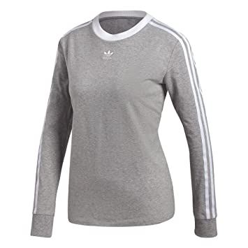 adidas 3 Stripes LS Shirt Damen grau BRGRIN Größe D 28