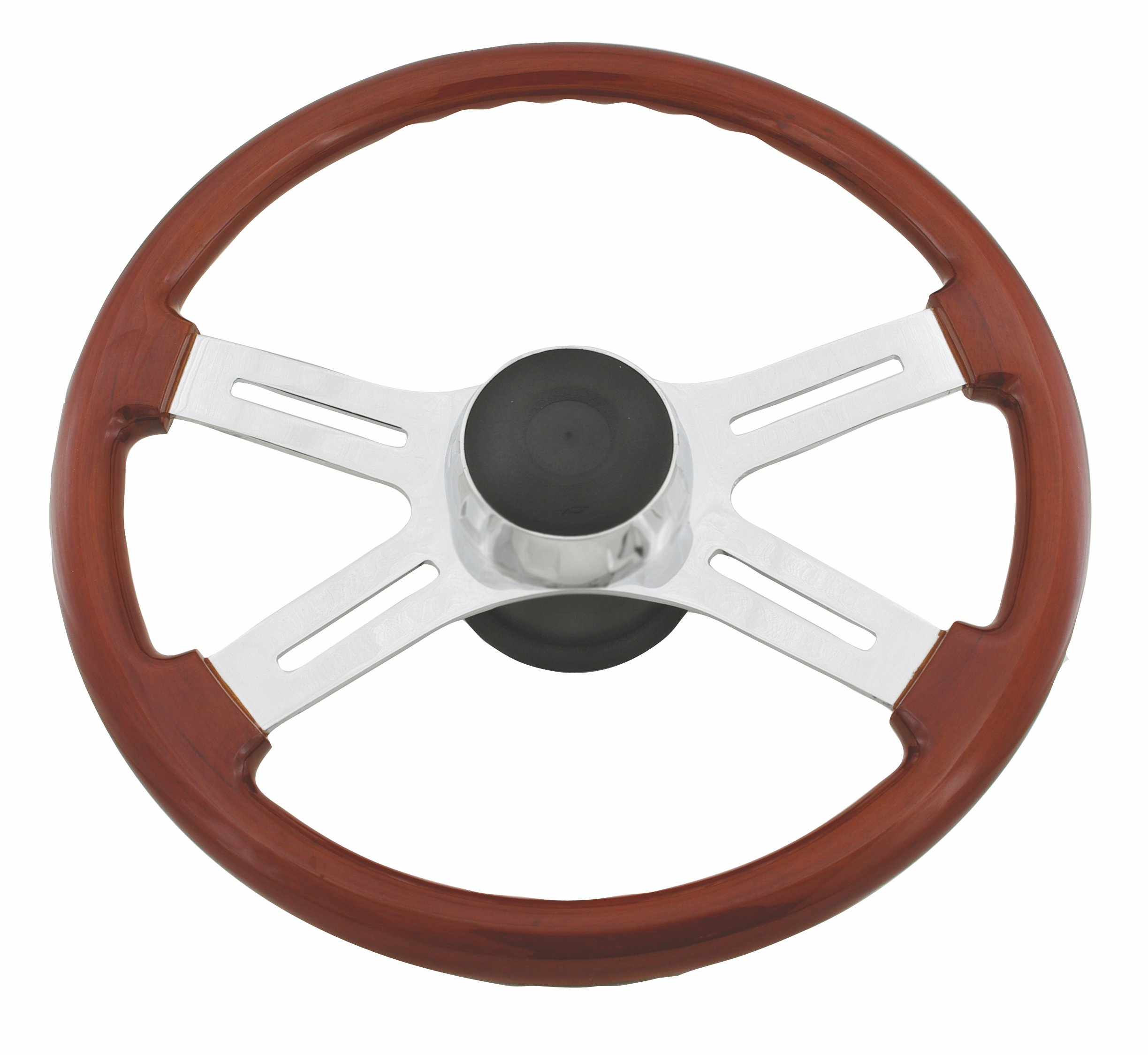 Woody's WP-SWKW9701 Rosewood Chrome Truck Steering Wheel (Beautiful African Hardwood) by Woody's