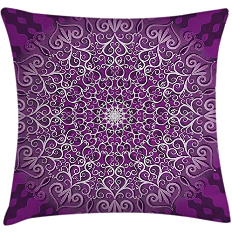 Throw Pillow Purple Mandala Cushion Cover, Round Stylized ...