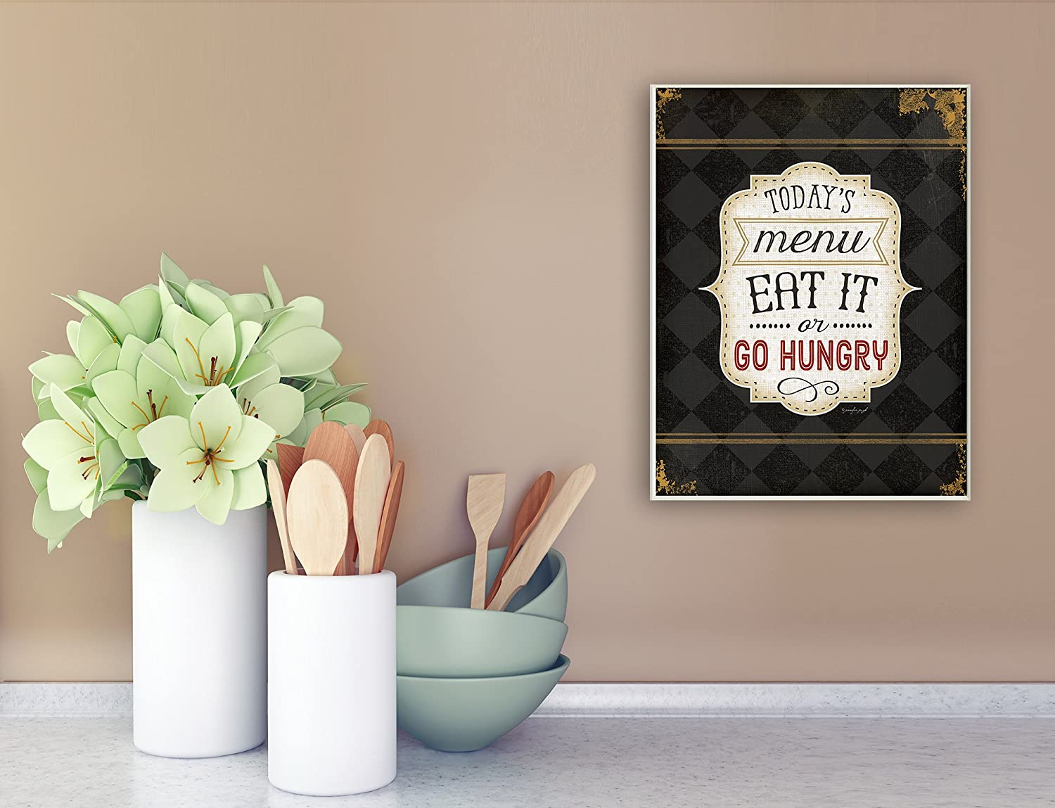 Stupell Home D/écor Todays Menu Eat It Or Go Hungry Graphic Art Wall Plaque Proudly Made in USA 10 x 0.5 x 15