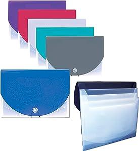 4 Pocket Cascading Hanging File, Drop Down File, 4 Pocket File, Poly, On The Go or Hanging Wall File, Assorted Colors, 12 Pack