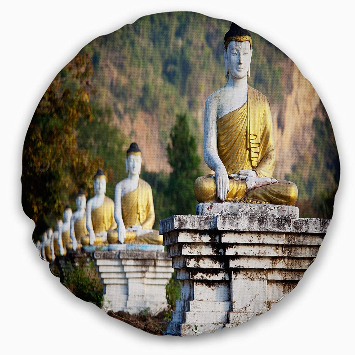 Designart CU12269-20-20-C Beautiful Row of Buddha Statues Landscape Printed Round Cushion Cover for Living Room Sofa Throw Pillow 20 Insert Side