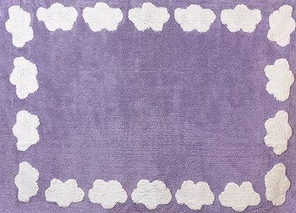 Tappeto Cameretta Lilla : Aratextil cloud tappeto per bambini in cotone lilla 120 x 160