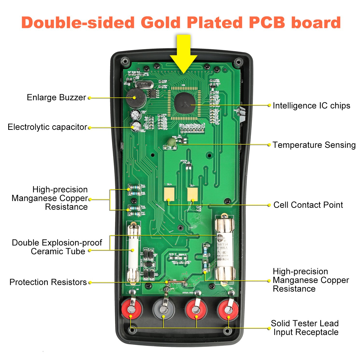 Thsinde Auto Ranging Digital Multimeter Measures Voltage Current Click Here To See The Audible Continuity Circuit Schematic Resistance Capacitance Frequency Tests Diodes Transistors Temperature