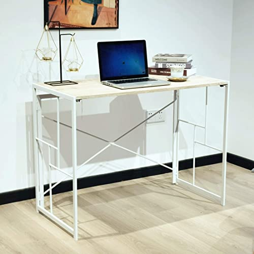 No Assembly Required Foldable Study Computer Desk 39″ Home Office Writing Desk