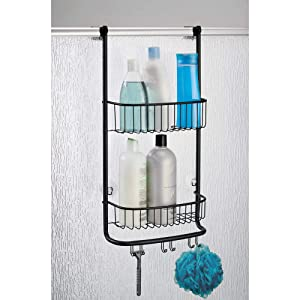 iDesign Forma Bathroom Over the Door Shower Caddy with Storage Baskets Shelves and Hooks for Shampoo, Conditioner, Soap, Matte Black