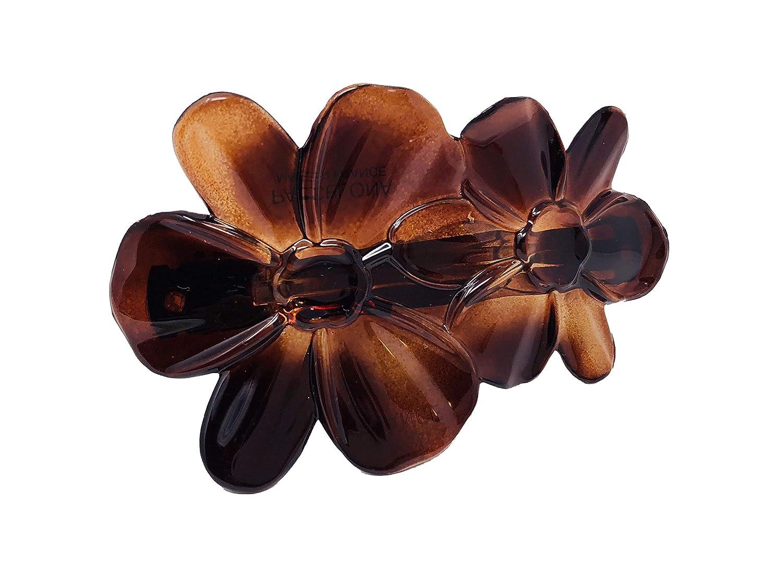 Parcelona French Flower Tortoise Shell Cellulose Medium Hair Clip Barrette