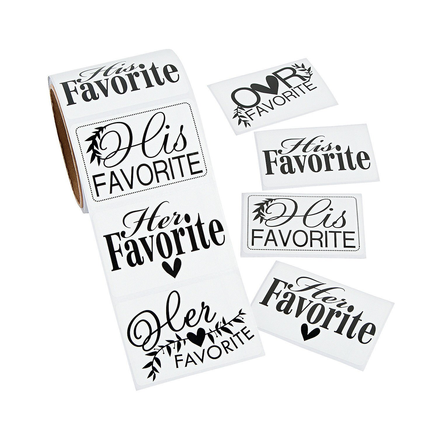 His Hers & Ours Wedding Favor Stickers (100 stickers per roll) Paper ...