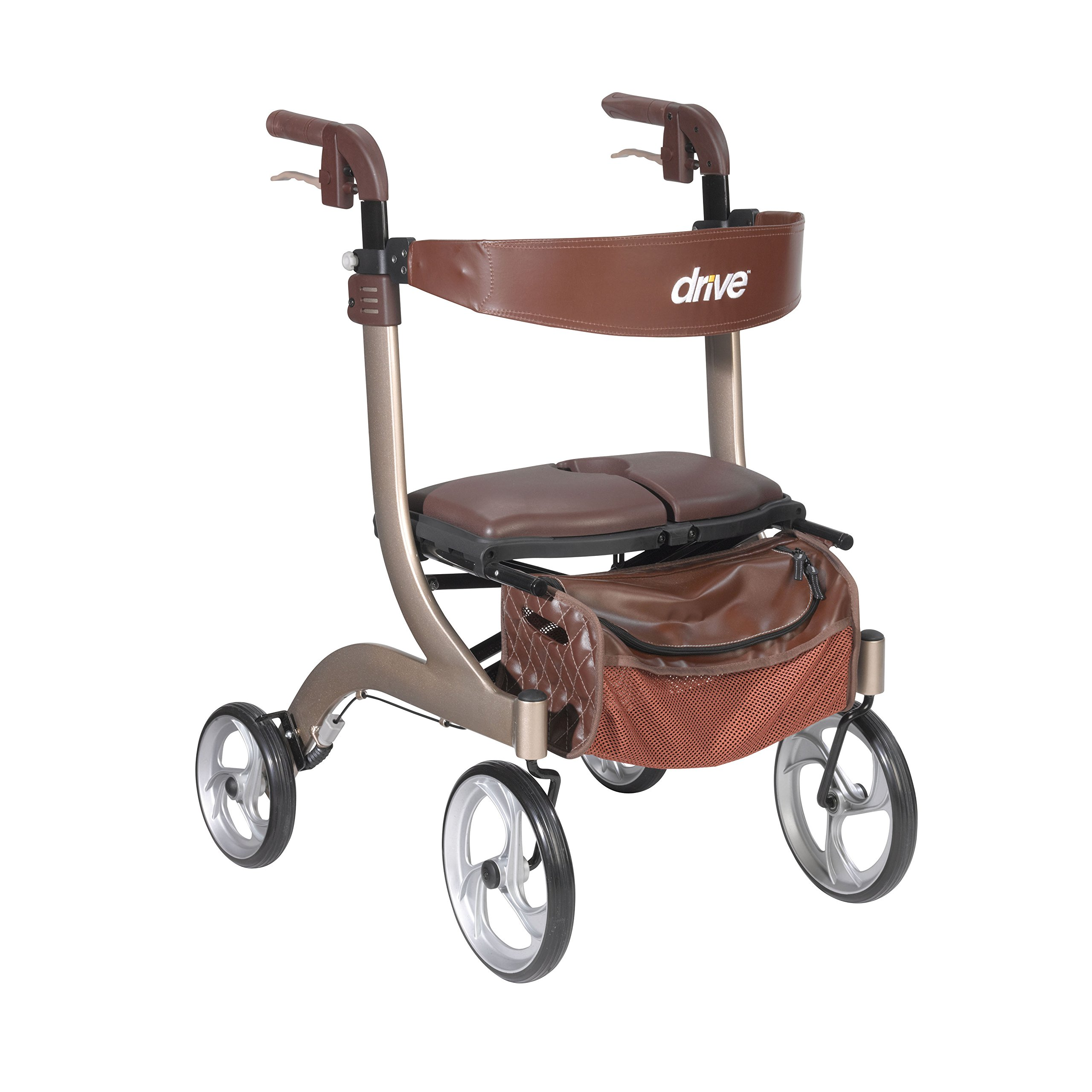 Drive Medical Nitro DLX Euro Style Walker Rollator, Champagne by Drive Medical