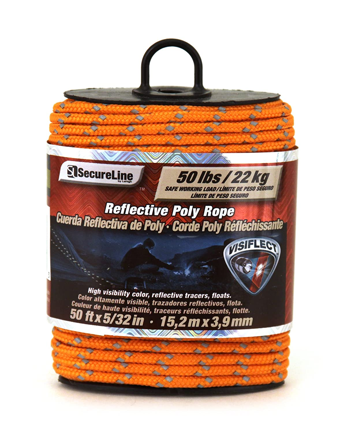 Orange Crawford-Lehigh Group Lehigh RMFPO3250 5//32-Inch by 50-Feet Reflective Polypropylene Rope