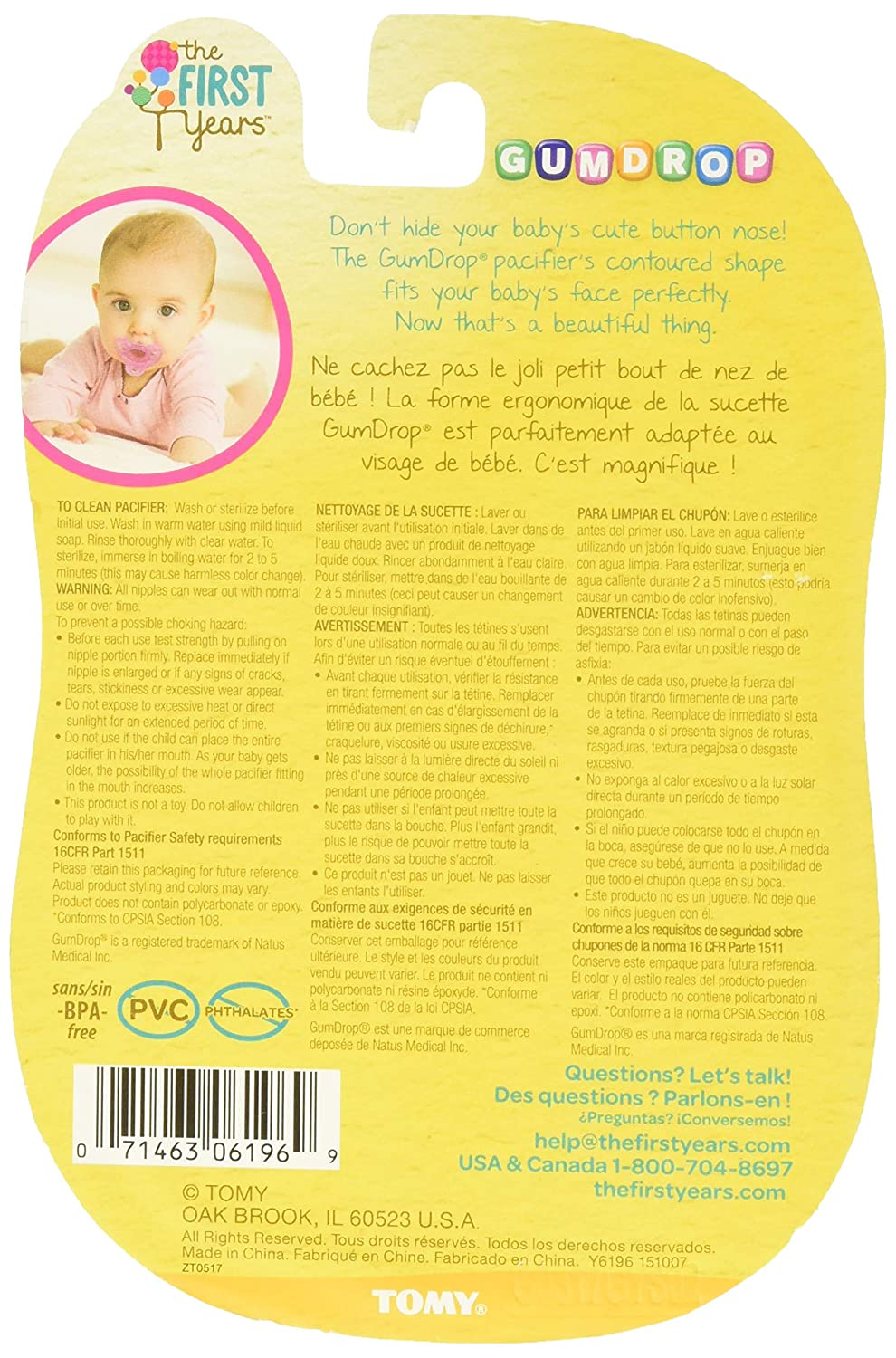 The First Years Gumdrop Hospital Pacifier with Ring, 3-6 Months