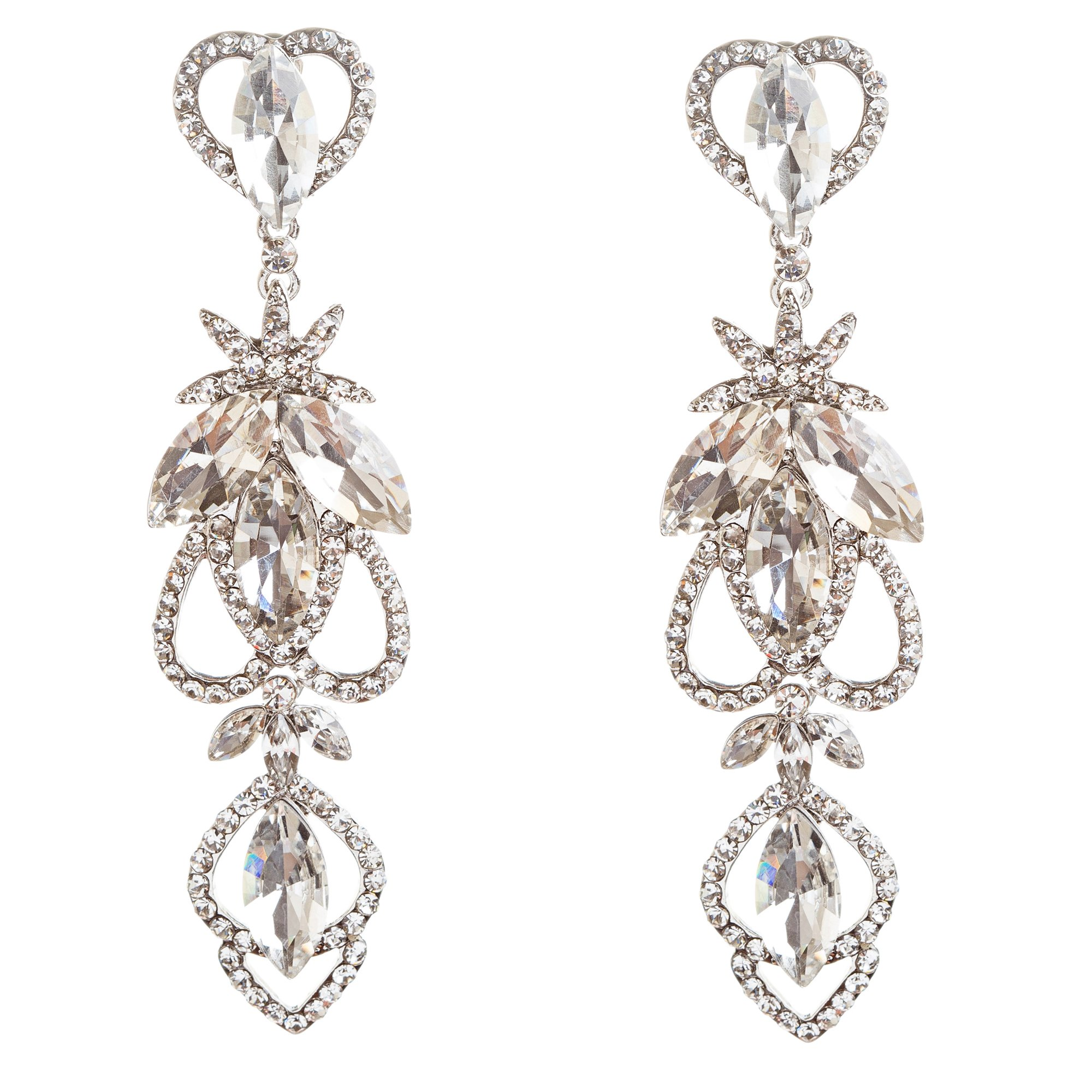 ACCESSORIESFOREVER Women Bridal Wedding Jewelry Crystal Rhinestone Delicate Intricate Earrings E715 SLV