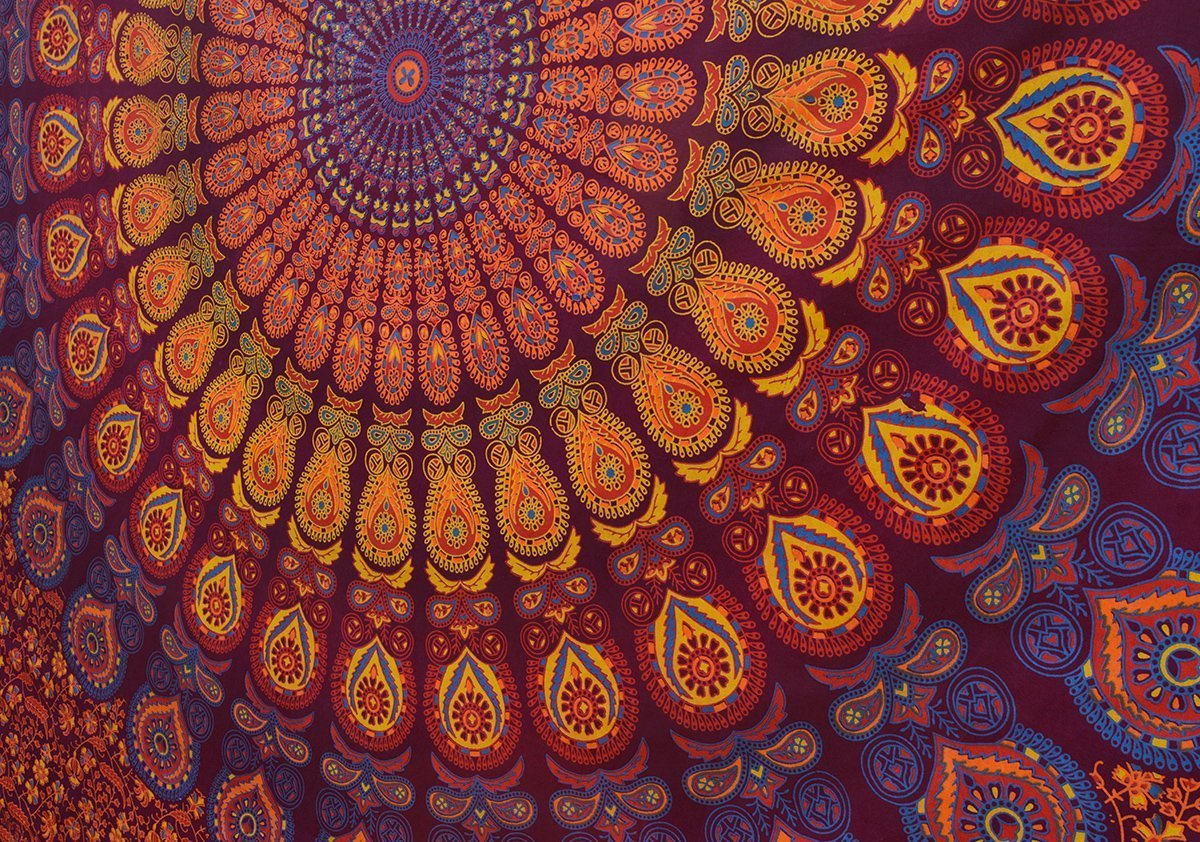 Popular Handicrafts Kp751 Hippie Mandala Bohemian Psychedelic Intricate Floral Design Indian Bedspread Magical Thinking Tapestry King Size Maroon-Yellow