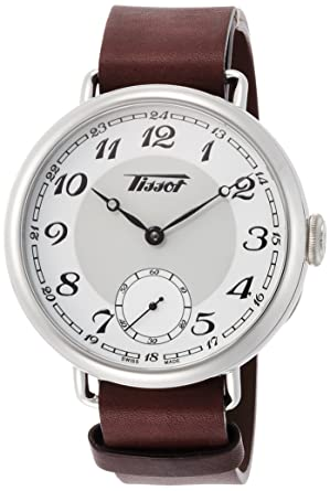 amazon com tissot heritage white dial leather strap men s watch