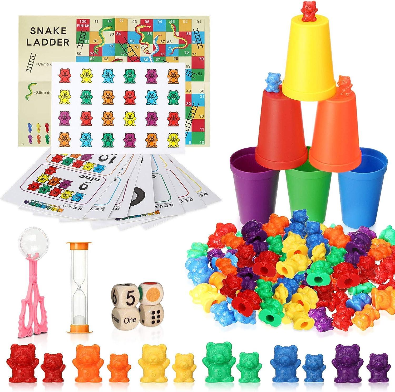 king do way Juego para contar, 111 unidades, diseño de ositos de arco iris, juguete educativo con vasos de clasificación a juego, dados y pinzas, Montessori Rainbow a juego de dados y matemáticas