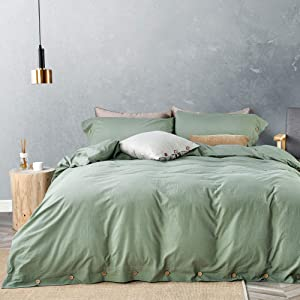 JELLYMONI Green 100% Washed Cotton Duvet Cover Set, 3 Pieces Luxury Soft Bedding Set with Buttons Closure. Solid Color Pattern Duvet Cover Queen Size(No Comforter)