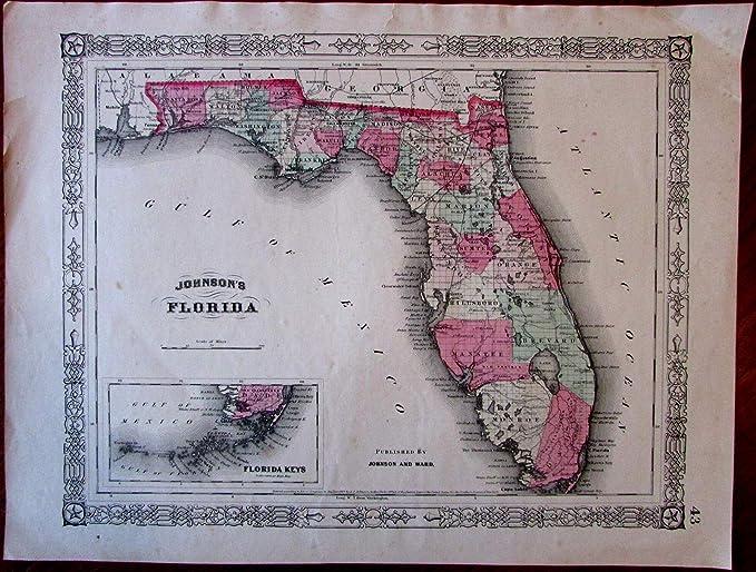 Amazoncom Florida State C1863 Johnson Ward Nice Decorative - Us-map-civil-war-era