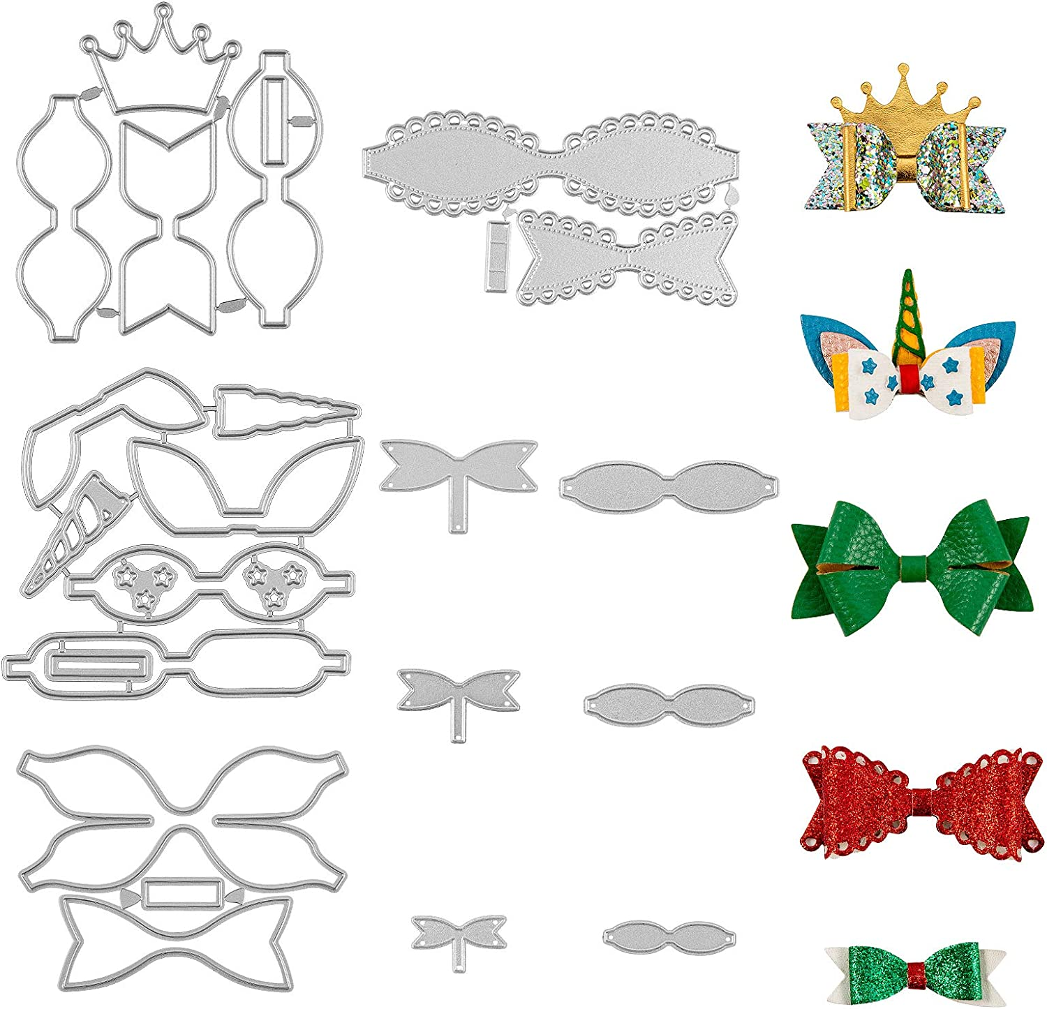 3pcs Crown Bow Tie Metal Die Cuts,Merry Christmas Bowtie Hair Bow Cutting Dies Cut Stencils for DIY Scrapbooking Decorative Embossing Paper Leather Scrapbooking Card Making