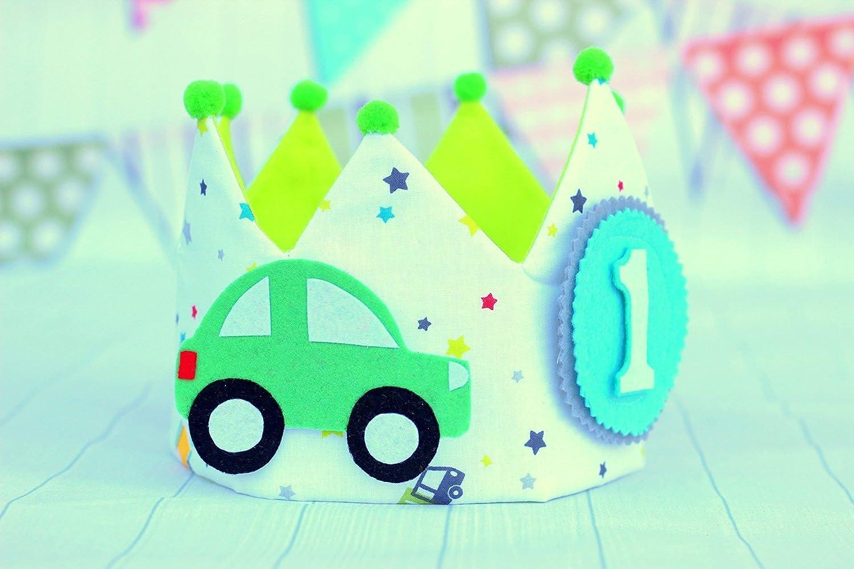 Corona cumplea/ños ni/ños adorno para fotograf/ías corona de tela coches para cumplea/ños infantil.