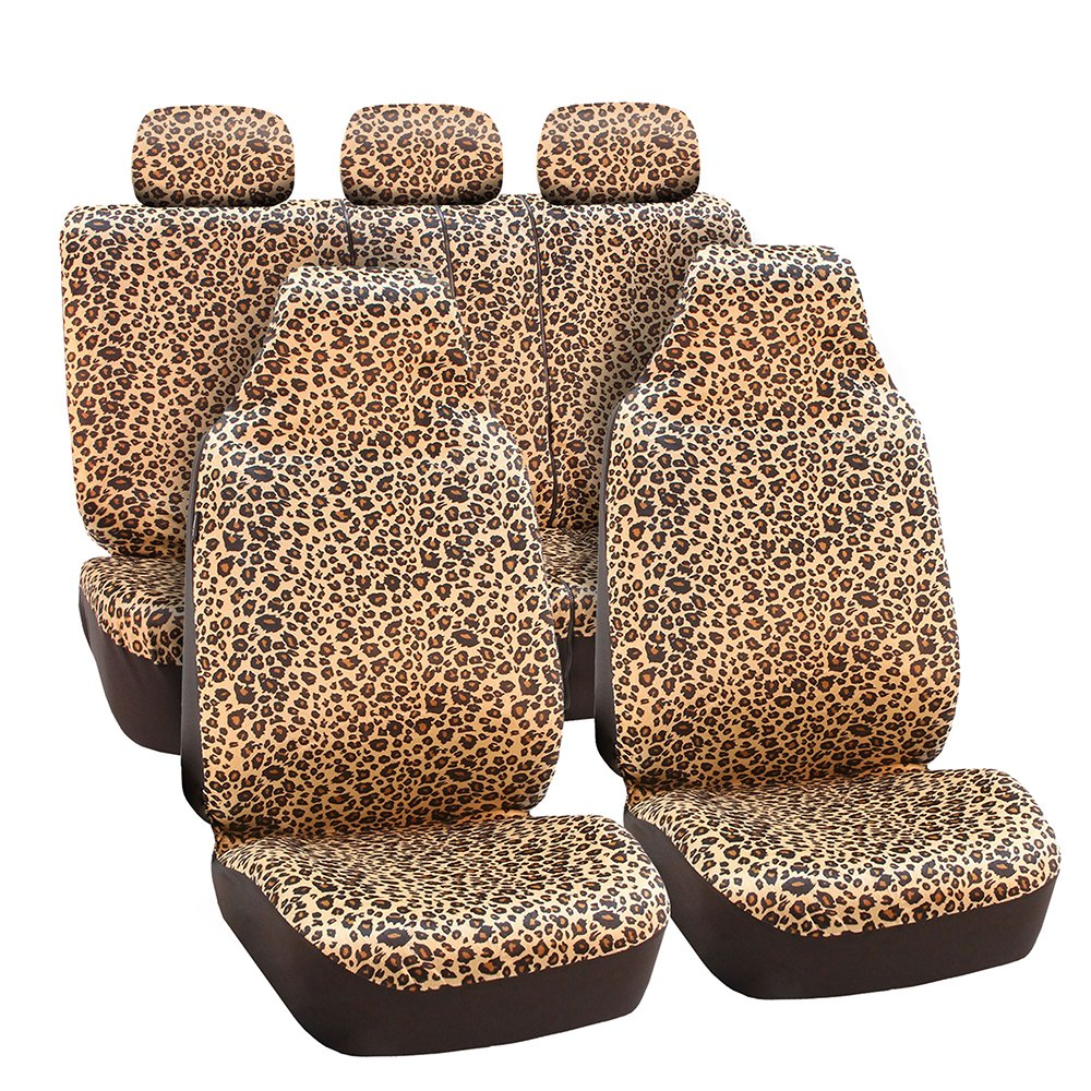 FH Group FB125BROWN115 Brown Classic Leopard Car Seat Cover (Airbag Compatible and Split Bench)