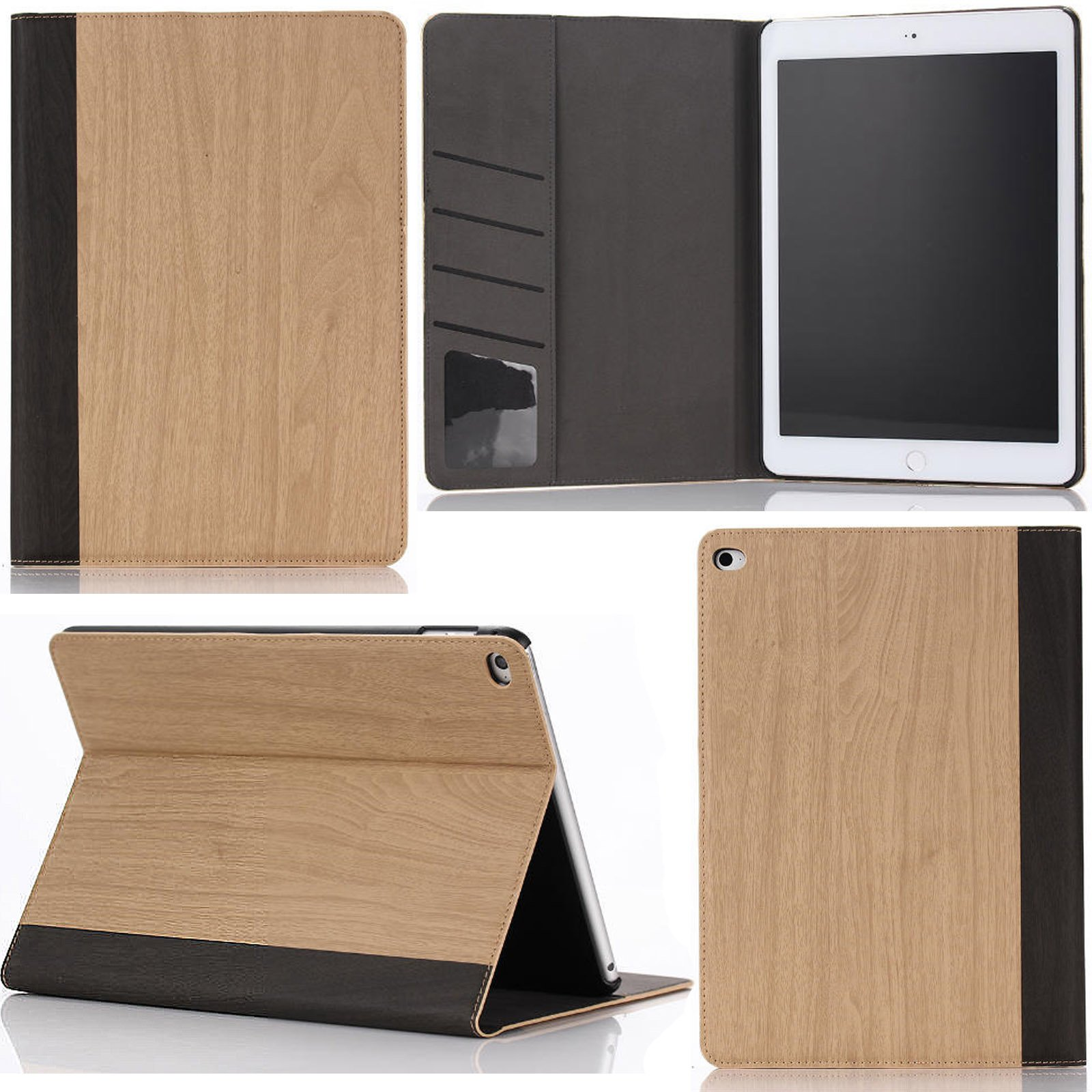 iPad Air 2 Case,Artyond Stand Case Smart Magnetic With [Auto Wake/Sleep Feature] Business Durable Stand Book Type Full Protective Wood Grain Painted Card Solts Case For iPad Air 2 /iPad 6 (Khaki)