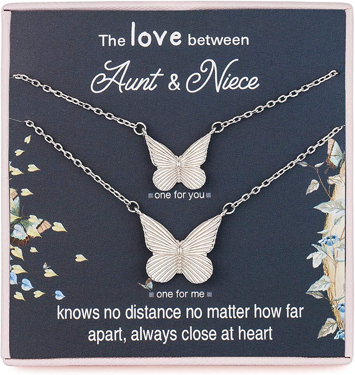 RareLove 2PCS Aunt Niece Necklace Set for 2 Small and Big Butterflies 925 Sterling Silver Butterfly Pendant Necklace Long Distance Relationship Gifts for Aunt from Niece