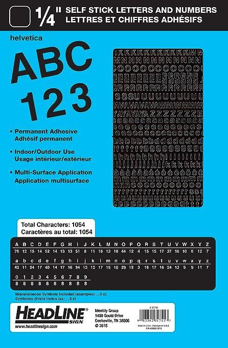 Titular cartel adhesivo vinilo letras y números, color negro ...