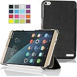 ELTD Huawei MediaPad X2 Hülle Case - Ultra Schlank Smart Cover Tasche Schutzhülle Case für Huawei MediaPad X2 mit Standfunktion und Auto Sleep / Wake Funktion, Schwarz
