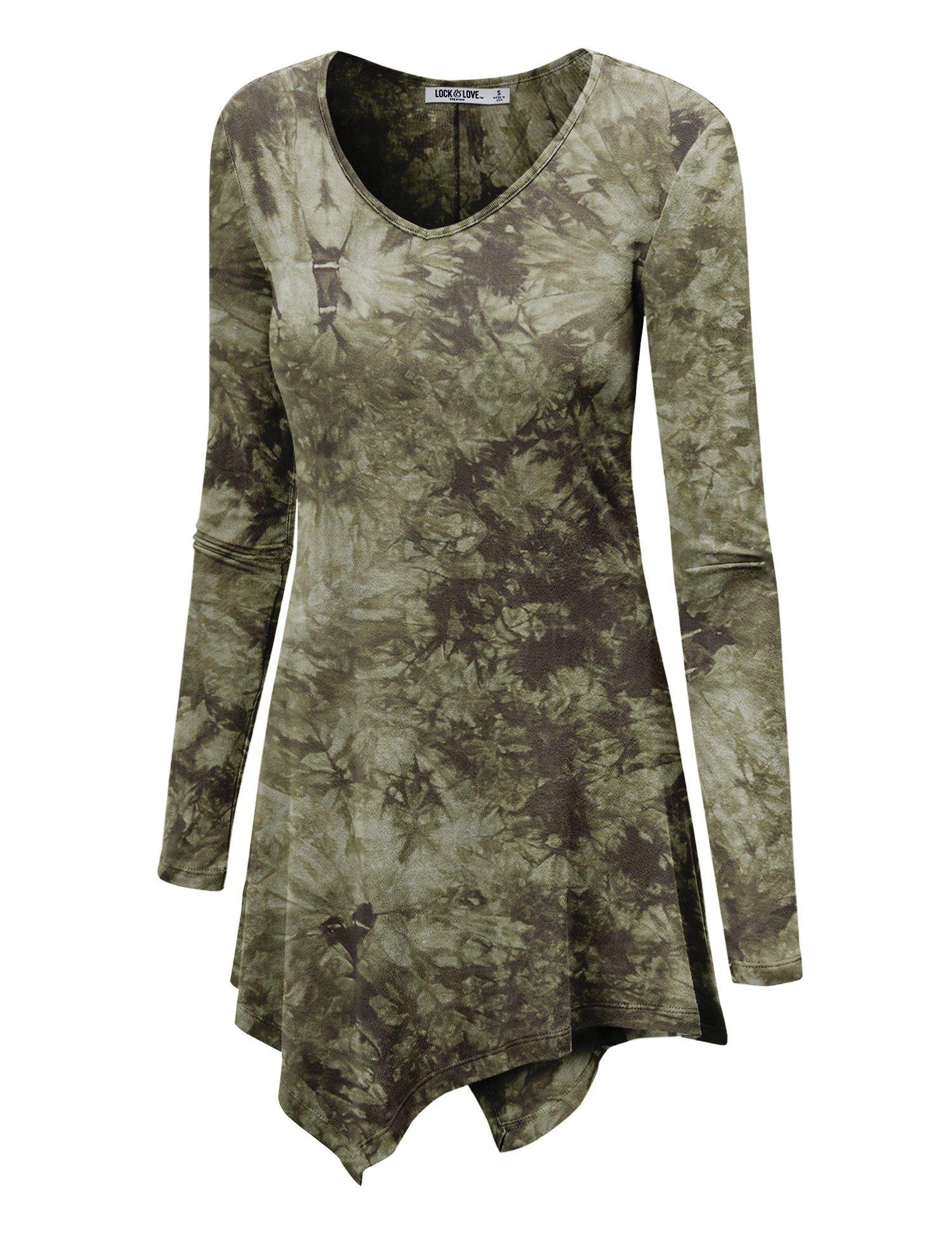WT1062 Womens V Neck Long Sleeve Tie Dye Handkerchief Hem Tunic XXXL OLIVE