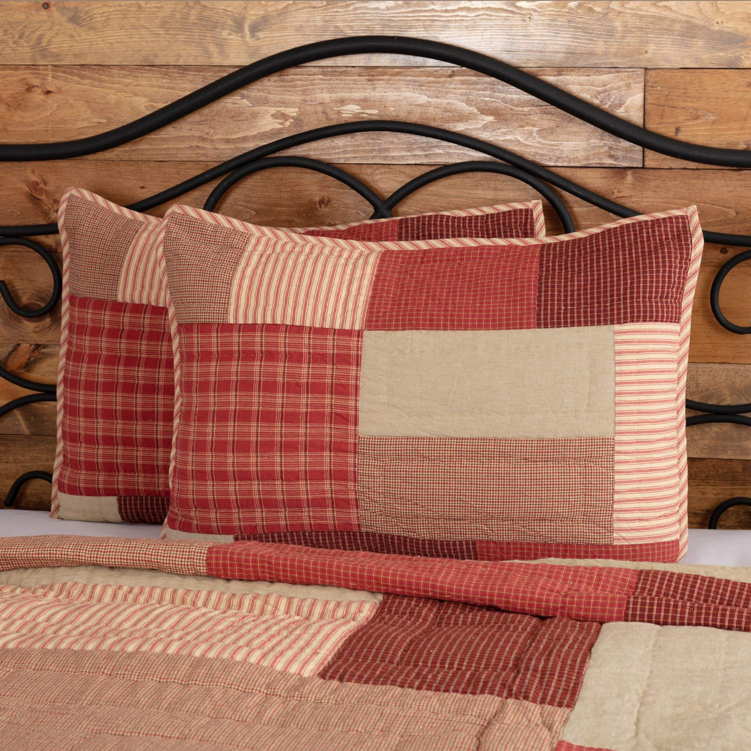 VHC Brands Farmhouse Bedding Rory Schoolhouse Red Cotton Patchwork Chambray Standard Sham Brick