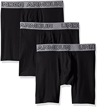 "0ee37e15bc31 Under Armour Men's Charged Cotton Stretch 6"" Boxerjock - 3-Pack, Black/"
