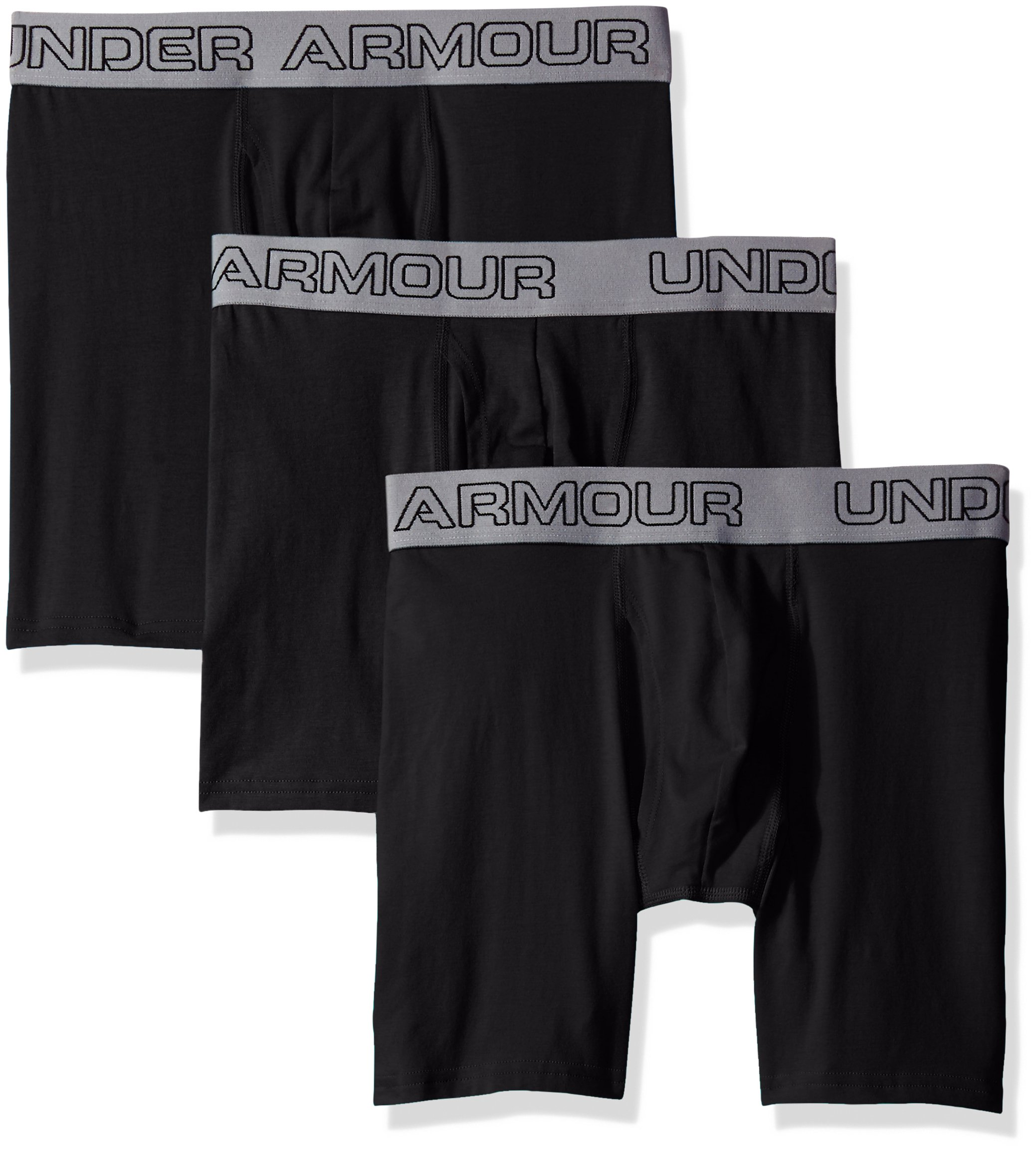 """Under Armour Men's Charged Cotton Stretch 6"""" Boxerjock 3-Pack, Black/Black, Large by Under Armour"""