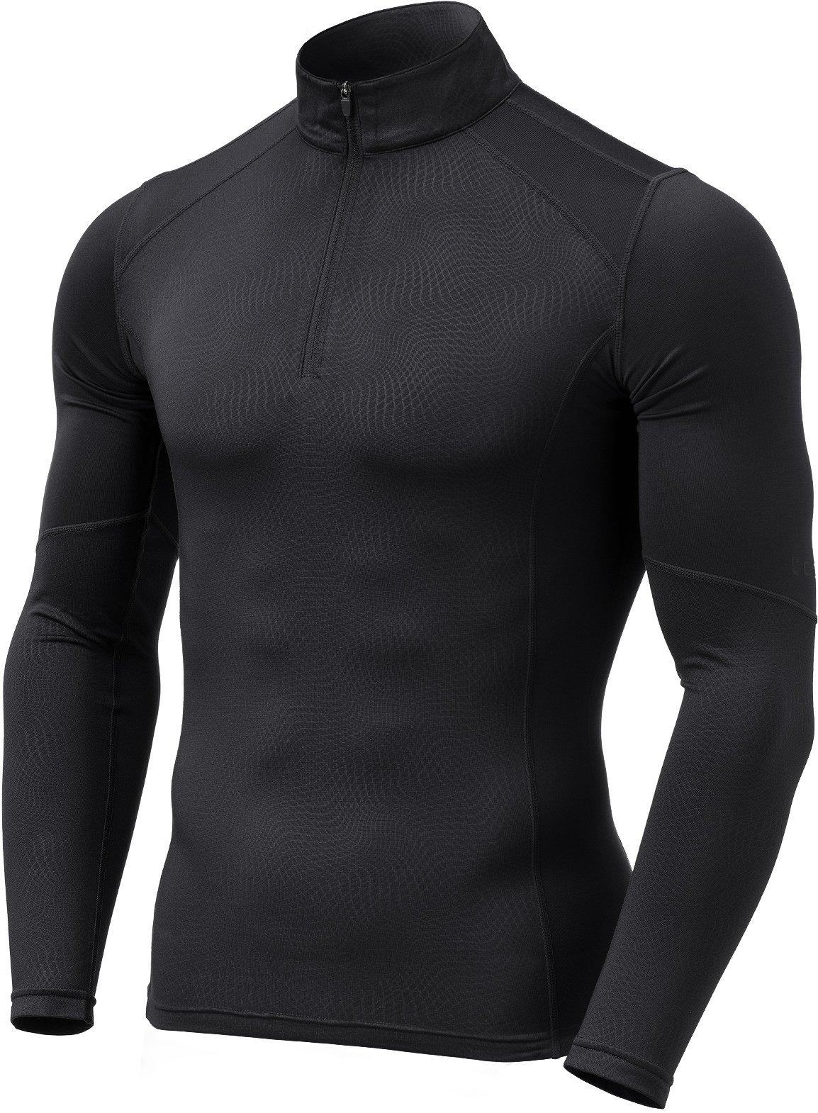 TM-YUZ47-BLK_Medium Tesla Men's Emboss 1/4 Zip Sweatshirt Thermal Wintergear Fleece Lining YUZ47