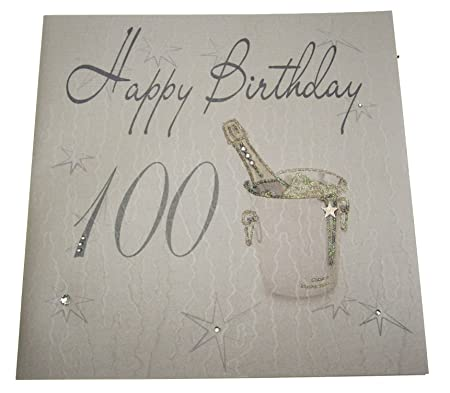 WHITE COTTON CARDS Code XLS100 Happy Birthday Handmade Large 100th Card Champagne Bucket