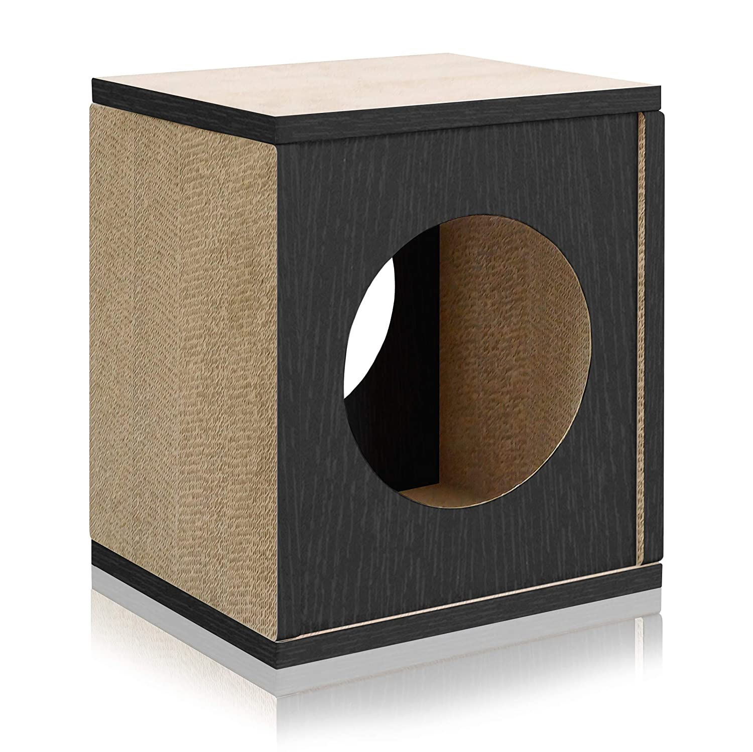 Made from Sustainable Non-Toxic zBoard paperboard PET-SCUBE-NL Way Basics Eco Friendly Cat Scratcher Cube House Made from Sustainable Non-Toxic zBoard paperboard Natural