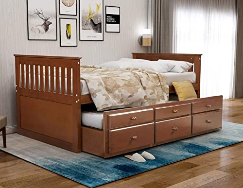 Rhomtree Storage Twin Daybed with Trundle and 3 Storage Drawers Wood Platform Bed Frame with Headboard Footboard Kids Bed Walnut