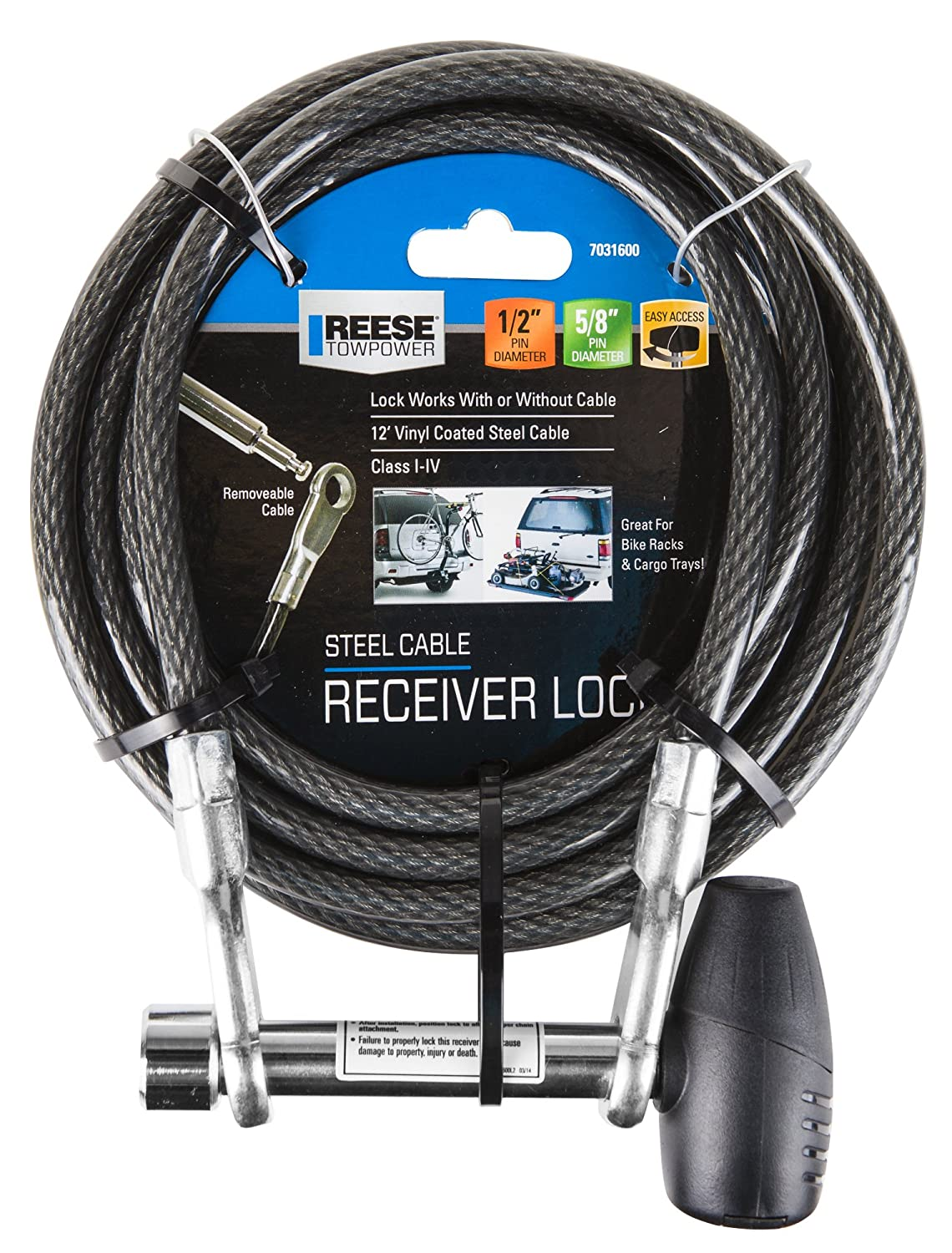 Amazon.com: Reese Towpower 7031600 Steel Cable and Receiver Lock ...