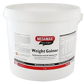 MEGAMAX - Weight Gainer - Suplemento para ganar peso y masa muscular - Plátano - Solo un 0,5% de grasa - 7 kg: Amazon.es: Deportes y aire libre