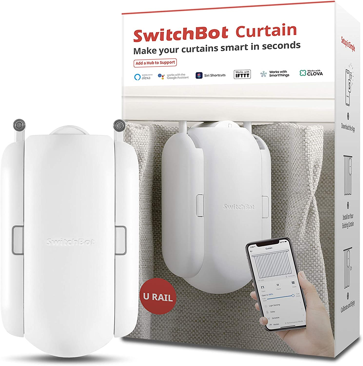 SwitchBot Curtain Smart Electric Motor - Wireless App Or Automate Timer Control,...