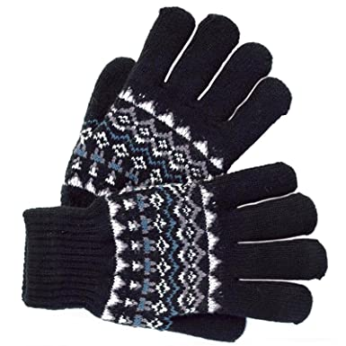 Mens Fairisle Style Pattern Knit Gloves Black Blue Grey Stretch