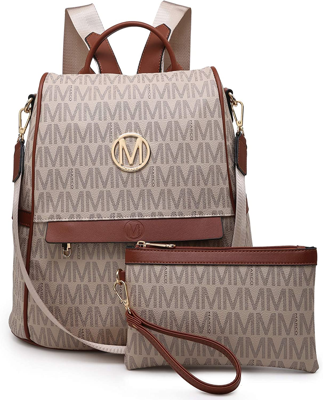 MKP Women Backpack Purse Fashion PU Leather Anti-theft Rucksack Lightweight Ladies Casual Travel School Shoulder Bag 2Pcs