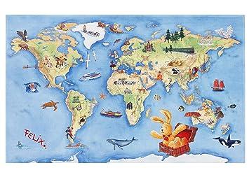 Hase Felix Kinderteppich Teppich Fur Kinder Mit Weltkarte