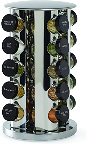 Kamenstein 30020 20-Jar Revolving Countertop Spice Tower with Free Spice Refills for 5 Years, Renewed