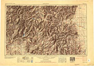 YellowMaps Durango CO topo map, 1:250000 Scale, 1 X 2 Degree, Historical, 1954, Updated 1954, 23.4 x 32.9 in