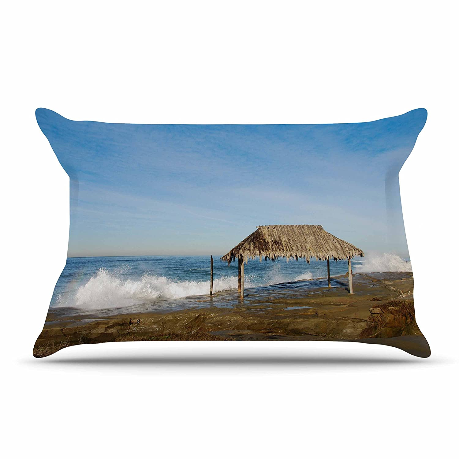 40 x 20 Kess InHouse Nick Nareshni Crashing Waves Near Hut Blue Tan Pillow Sham